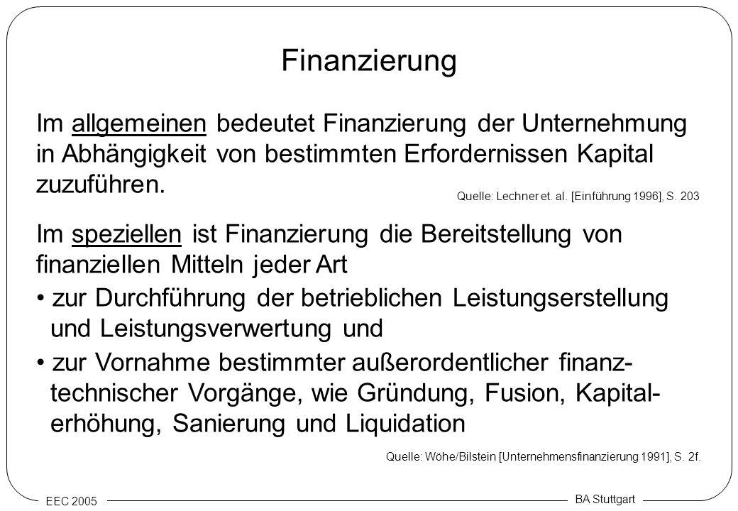 EEC 2005 BA Stuttgart Finanzierung Im allgemeinen bedeutet Finanzierung der Unternehmung in Abhängigkeit von bestimmten Erfordernissen Kapital zuzufüh