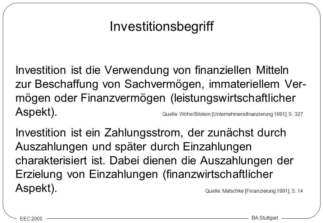 EEC 2005 BA Stuttgart Investitionsbegriff Investition ist die Verwendung von finanziellen Mitteln zur Beschaffung von Sachvermögen, immateriellem Ver-