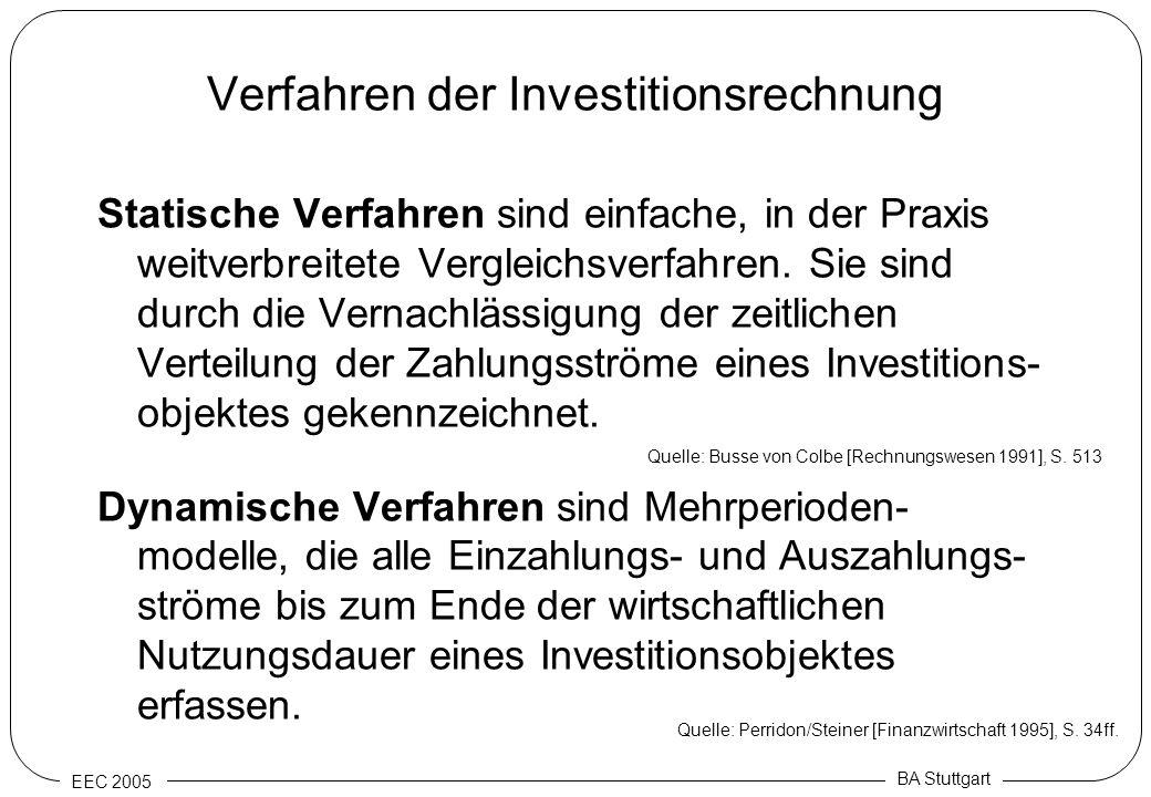EEC 2005 BA Stuttgart Verfahren der Investitionsrechnung Statische Verfahren sind einfache, in der Praxis weitverbreitete Vergleichsverfahren. Sie sin