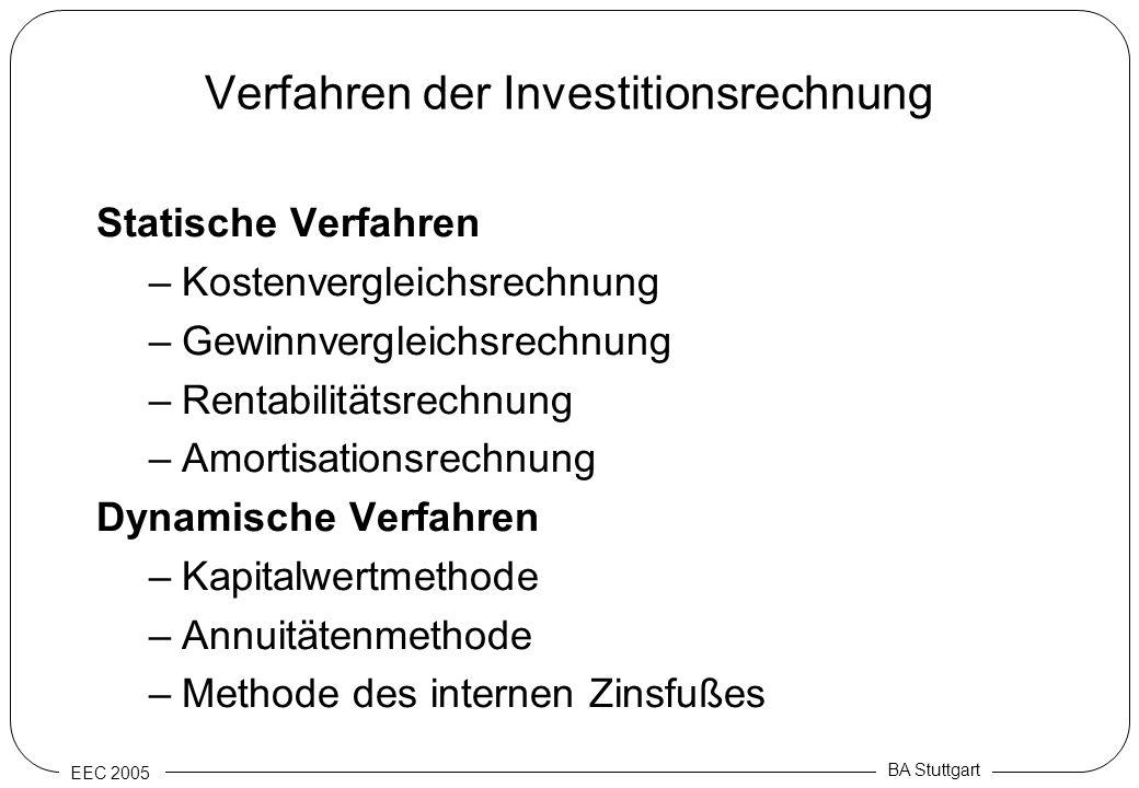 EEC 2005 BA Stuttgart Verfahren der Investitionsrechnung Statische Verfahren –Kostenvergleichsrechnung –Gewinnvergleichsrechnung –Rentabilitätsrechnun