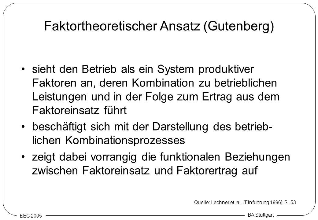 EEC 2005 BA Stuttgart Faktortheoretischer Ansatz (Gutenberg) sieht den Betrieb als ein System produktiver Faktoren an, deren Kombination zu betrieblic