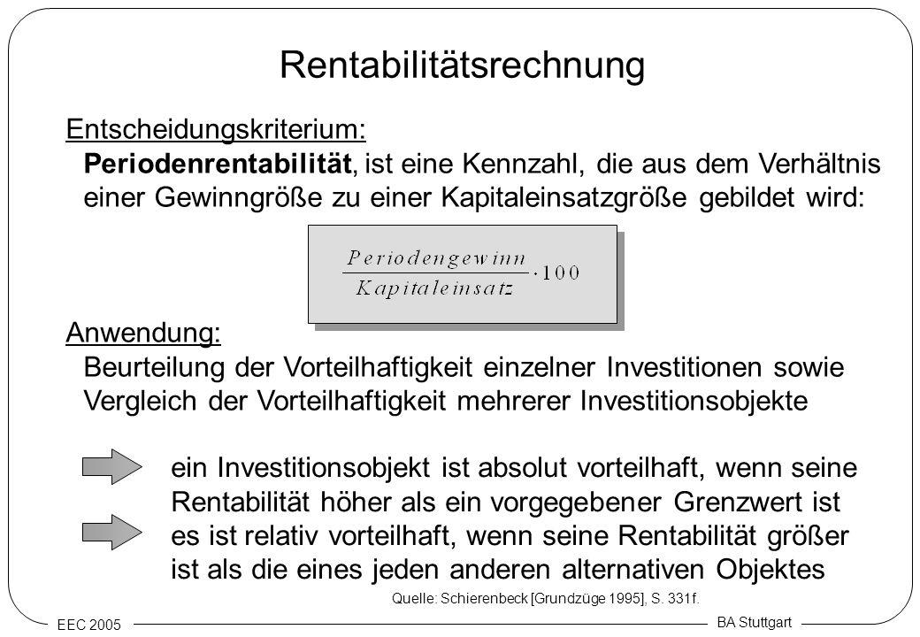 EEC 2005 BA Stuttgart Rentabilitätsrechnung Entscheidungskriterium: Periodenrentabilität, ist eine Kennzahl, die aus dem Verhältnis einer Gewinngröße