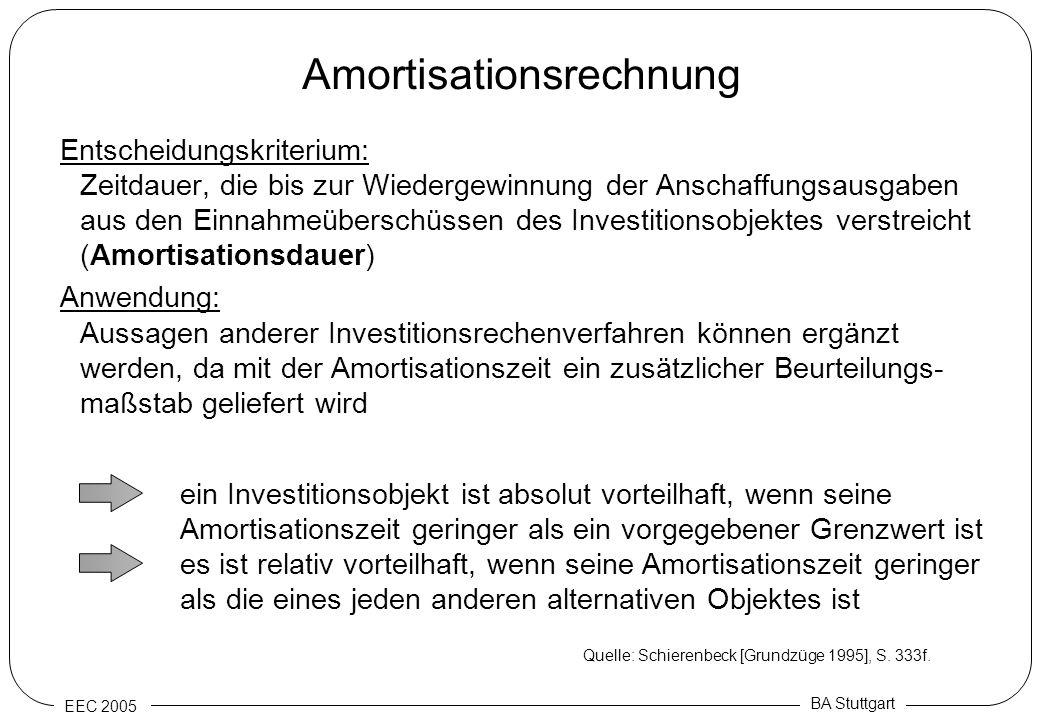 EEC 2005 BA Stuttgart Amortisationsrechnung Entscheidungskriterium: Zeitdauer, die bis zur Wiedergewinnung der Anschaffungsausgaben aus den Einnahmeüb