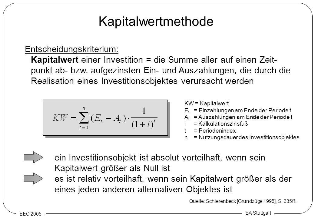 EEC 2005 BA Stuttgart Kapitalwertmethode Entscheidungskriterium: Kapitalwert einer Investition = die Summe aller auf einen Zeit- punkt ab- bzw. aufgez