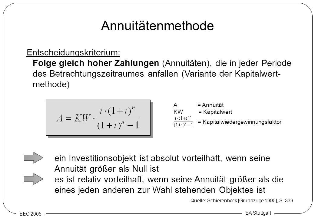 EEC 2005 BA Stuttgart Annuitätenmethode Entscheidungskriterium: Folge gleich hoher Zahlungen (Annuitäten), die in jeder Periode des Betrachtungszeitra