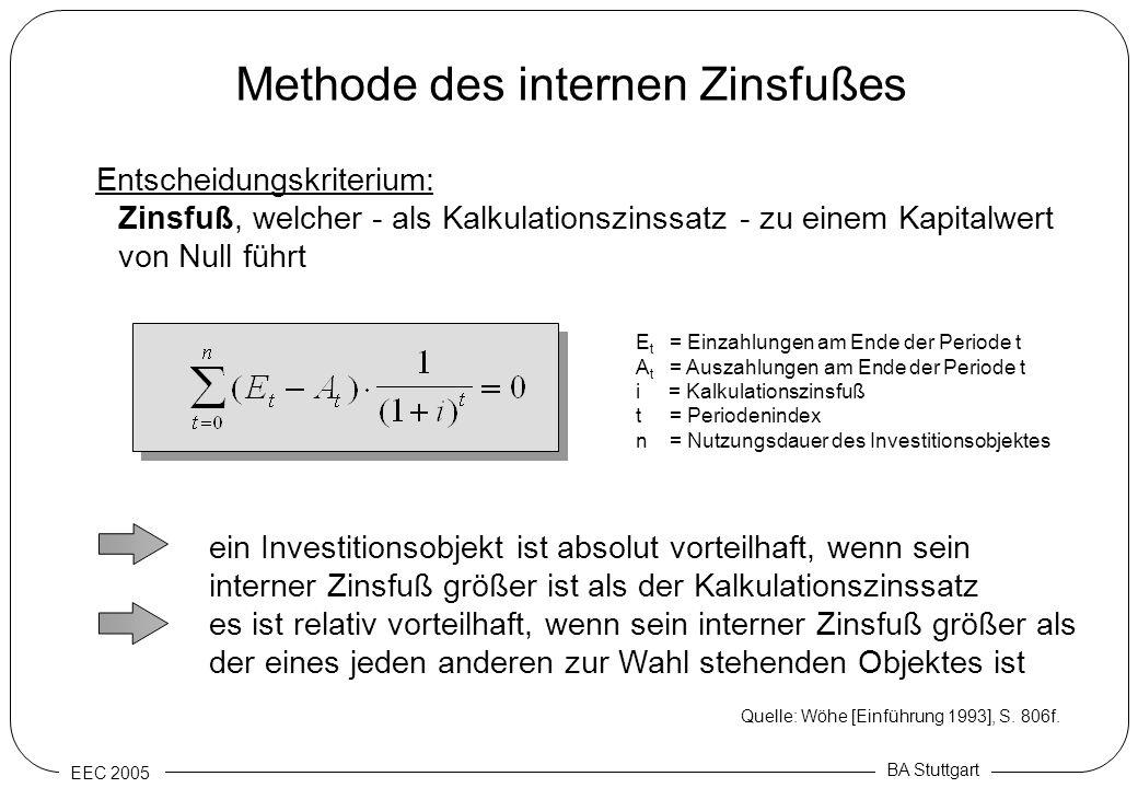 EEC 2005 BA Stuttgart Methode des internen Zinsfußes Entscheidungskriterium: Zinsfuß, welcher - als Kalkulationszinssatz - zu einem Kapitalwert von Nu