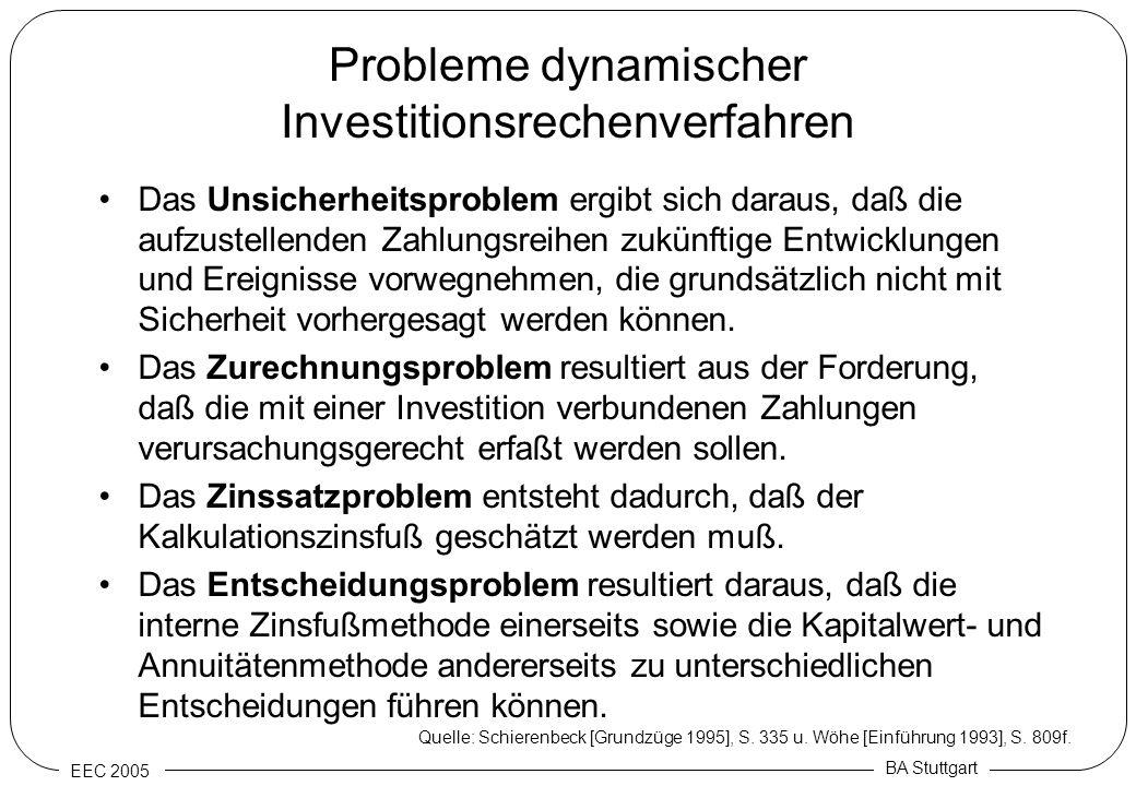EEC 2005 BA Stuttgart Probleme dynamischer Investitionsrechenverfahren Das Unsicherheitsproblem ergibt sich daraus, daß die aufzustellenden Zahlungsre