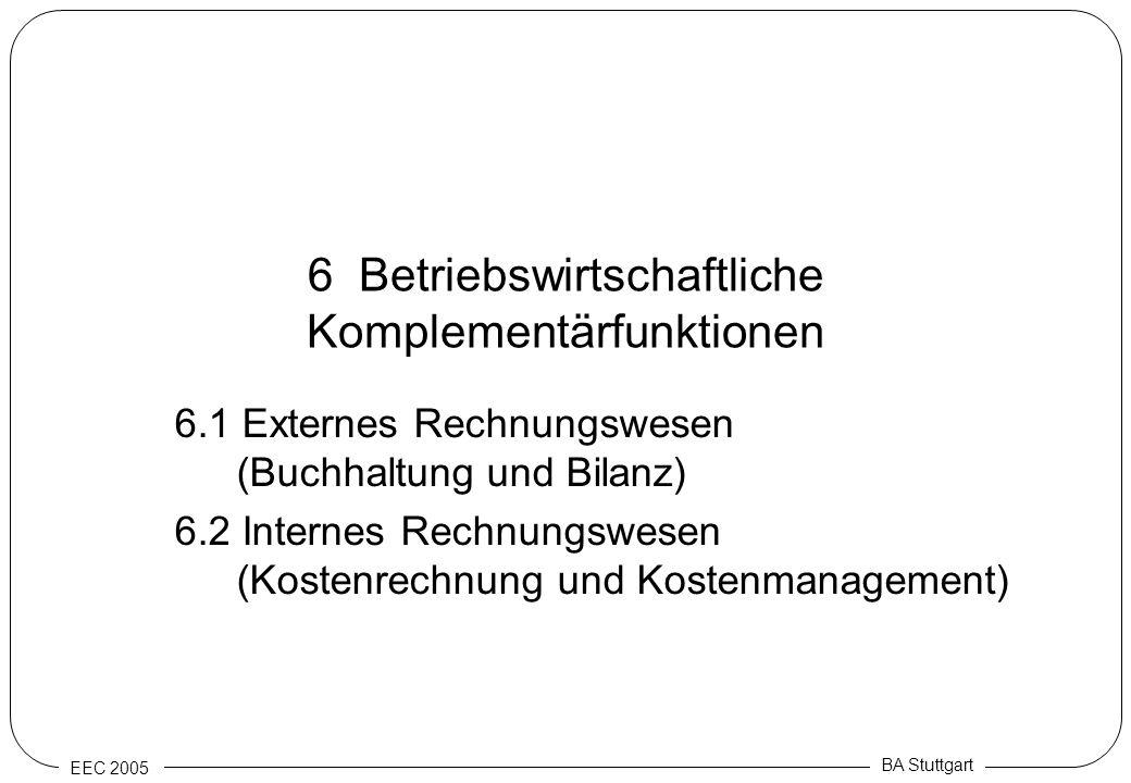EEC 2005 BA Stuttgart 6 Betriebswirtschaftliche Komplementärfunktionen 6.1 Externes Rechnungswesen (Buchhaltung und Bilanz) 6.2 Internes Rechnungswese