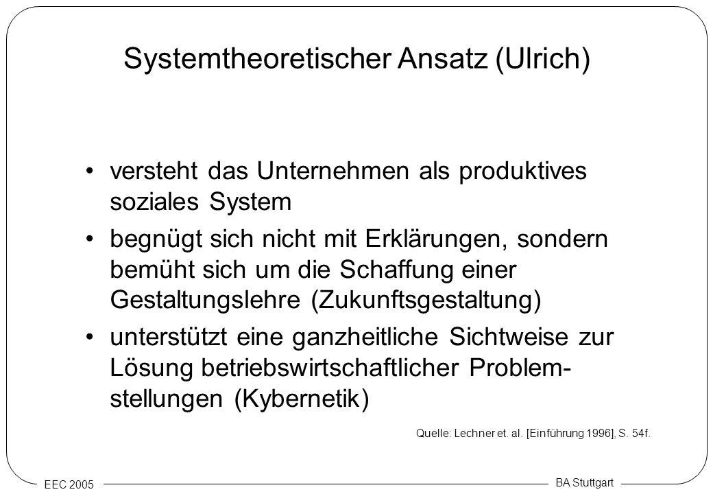 EEC 2005 BA Stuttgart Systemtheoretischer Ansatz (Ulrich) versteht das Unternehmen als produktives soziales System begnügt sich nicht mit Erklärungen,