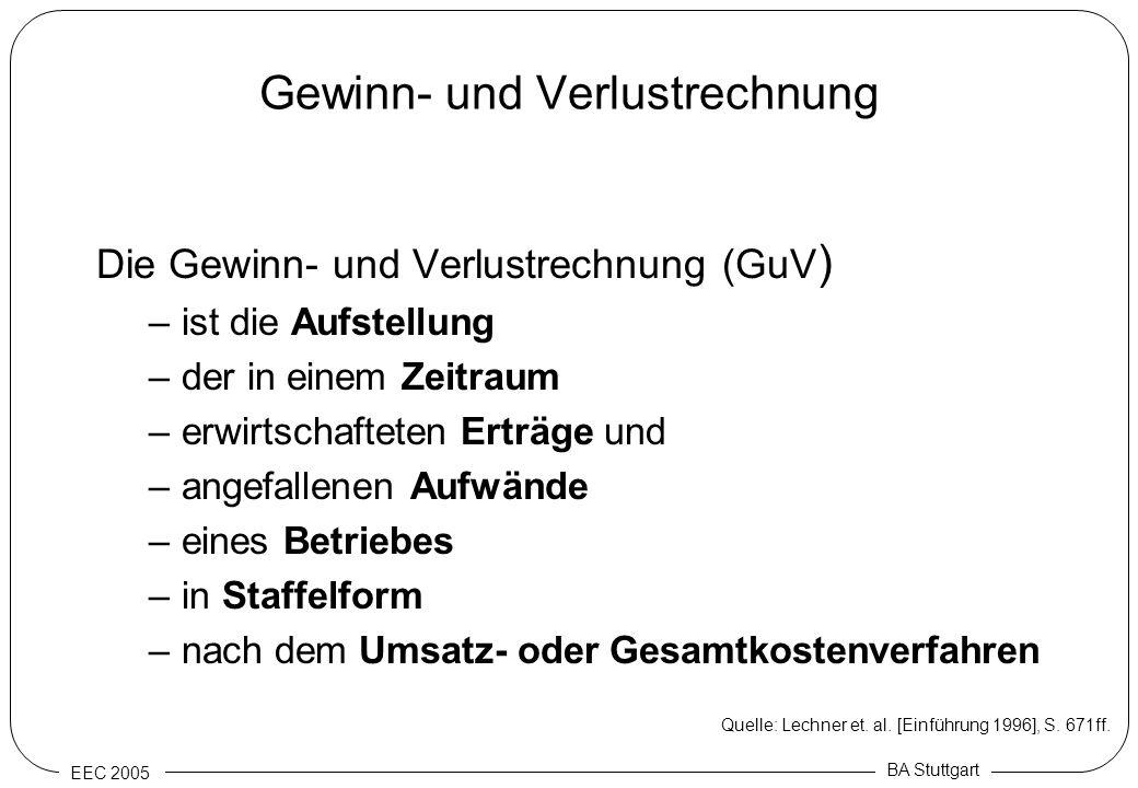 EEC 2005 BA Stuttgart Gewinn- und Verlustrechnung Die Gewinn- und Verlustrechnung (GuV ) –ist die Aufstellung –der in einem Zeitraum –erwirtschafteten