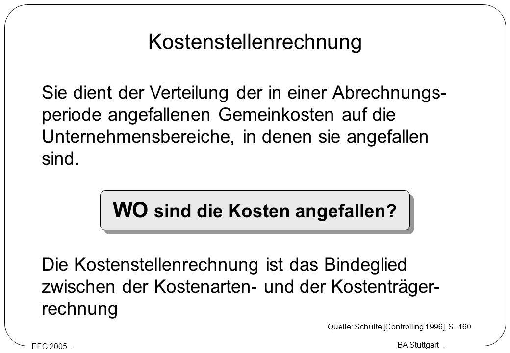 EEC 2005 BA Stuttgart Kostenstellenrechnung Sie dient der Verteilung der in einer Abrechnungs- periode angefallenen Gemeinkosten auf die Unternehmensb