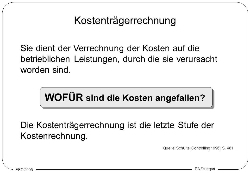 EEC 2005 BA Stuttgart Kostenträgerrechnung Sie dient der Verrechnung der Kosten auf die betrieblichen Leistungen, durch die sie verursacht worden sind