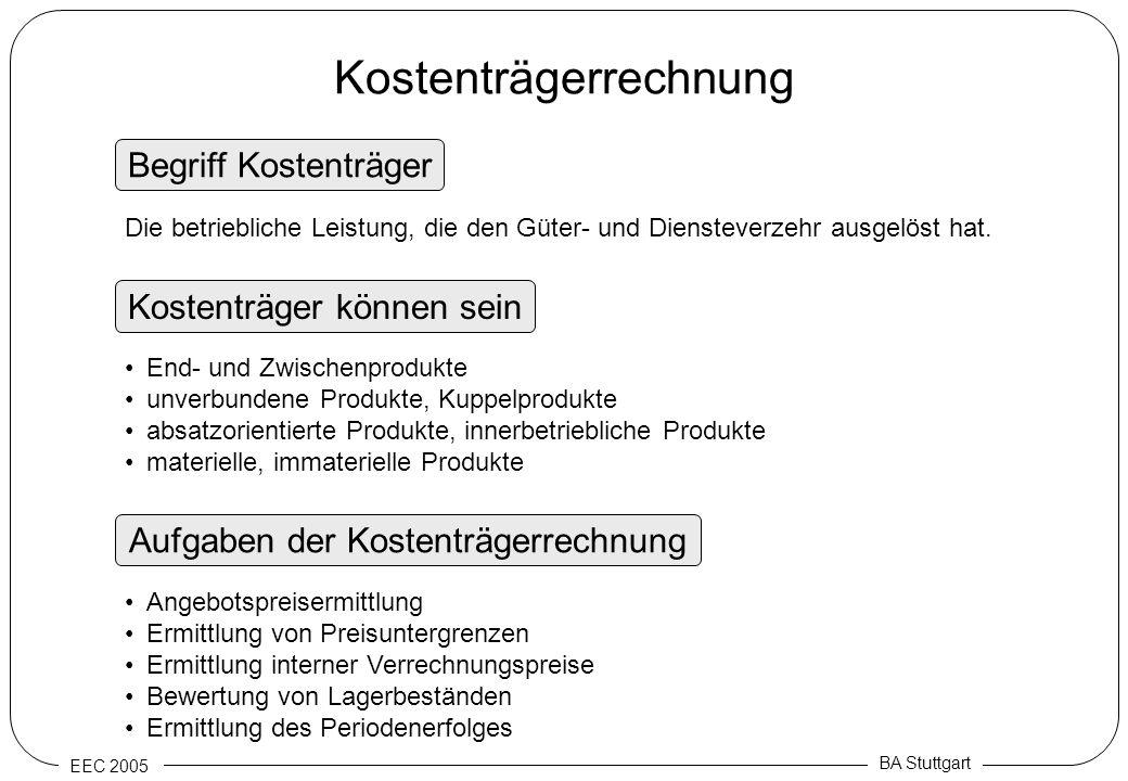 EEC 2005 BA Stuttgart Kostenträgerrechnung Begriff Kostenträger Aufgaben der Kostenträgerrechnung Kostenträger können sein Die betriebliche Leistung,