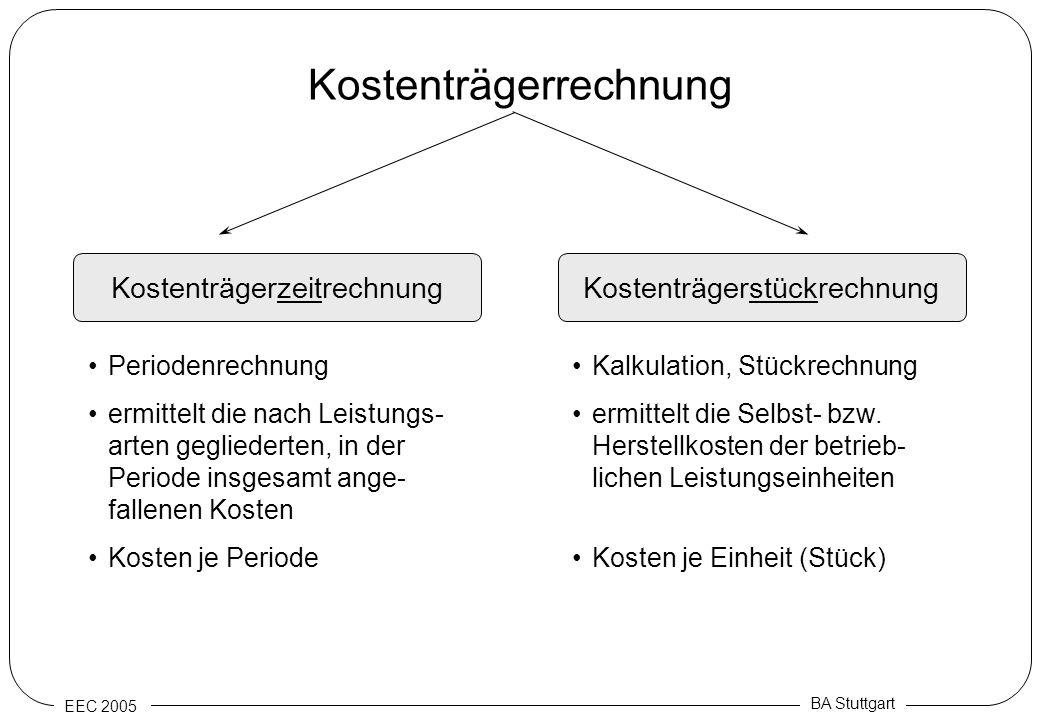 EEC 2005 BA Stuttgart Kostenträgerrechnung KostenträgerzeitrechnungKostenträgerstückrechnung Periodenrechnung ermittelt die nach Leistungs- arten gegl