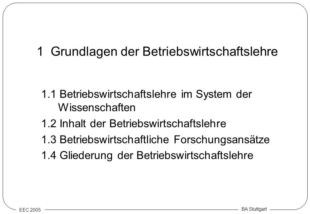 EEC 2005 BA Stuttgart 1 Grundlagen der Betriebswirtschaftslehre 1.1 Betriebswirtschaftslehre im System der Wissenschaften 1.2 Inhalt der Betriebswirts