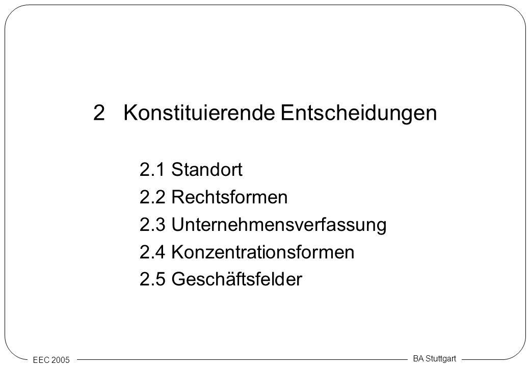 EEC 2005 BA Stuttgart 2 Konstituierende Entscheidungen 2.1 Standort 2.2 Rechtsformen 2.3 Unternehmensverfassung 2.4 Konzentrationsformen 2.5 Geschäfts
