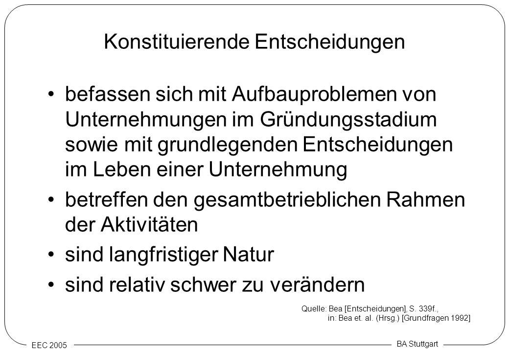 EEC 2005 BA Stuttgart Konstituierende Entscheidungen befassen sich mit Aufbauproblemen von Unternehmungen im Gründungsstadium sowie mit grundlegenden