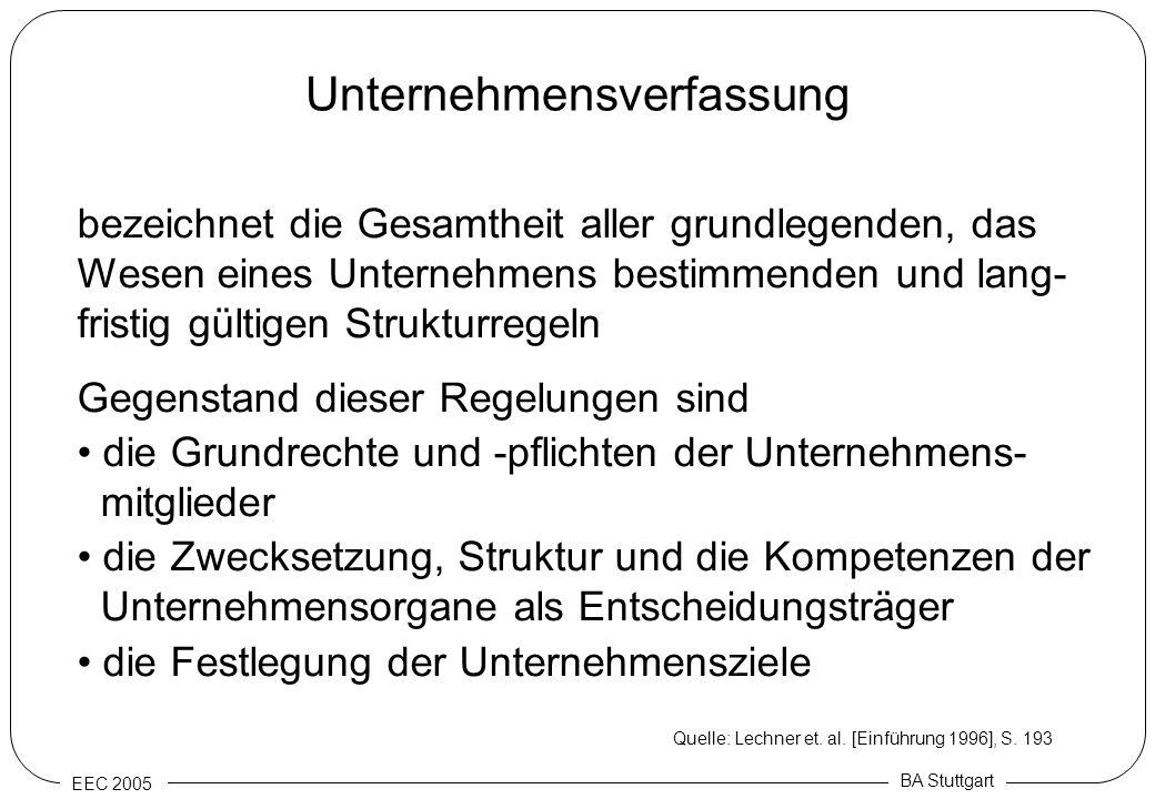 EEC 2005 BA Stuttgart Unternehmensverfassung bezeichnet die Gesamtheit aller grundlegenden, das Wesen eines Unternehmens bestimmenden und lang- fristi