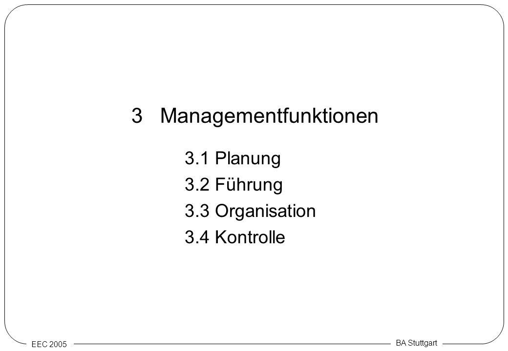 EEC 2005 BA Stuttgart 3 Managementfunktionen 3.1 Planung 3.2 Führung 3.3 Organisation 3.4 Kontrolle