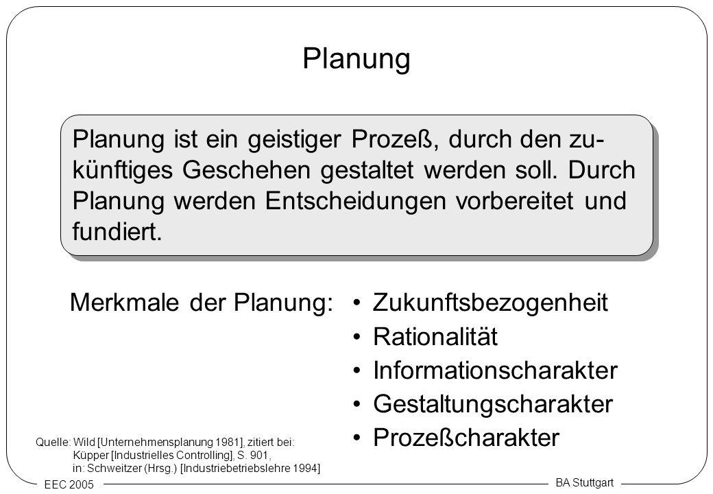 EEC 2005 BA Stuttgart Planung Planung ist ein geistiger Prozeß, durch den zu- künftiges Geschehen gestaltet werden soll. Durch Planung werden Entschei