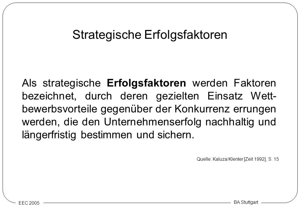 EEC 2005 BA Stuttgart Strategische Erfolgsfaktoren Als strategische Erfolgsfaktoren werden Faktoren bezeichnet, durch deren gezielten Einsatz Wett- be