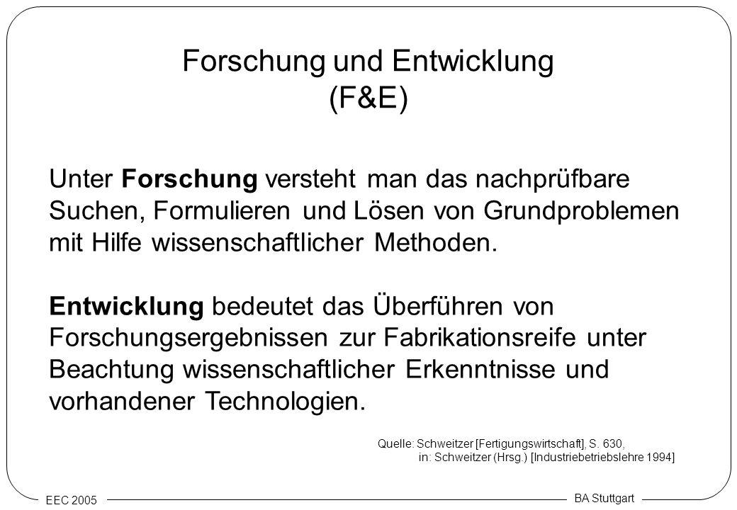 EEC 2005 BA Stuttgart Forschung und Entwicklung (F&E) Unter Forschung versteht man das nachprüfbare Suchen, Formulieren und Lösen von Grundproblemen m