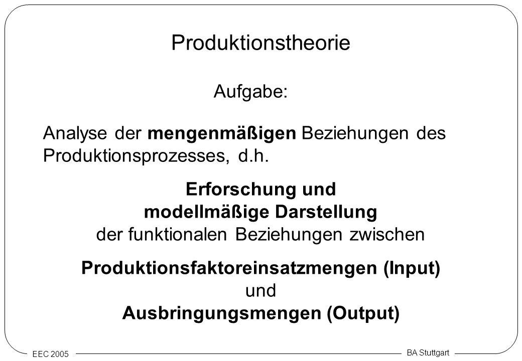 EEC 2005 BA Stuttgart Produktionstheorie Aufgabe: Analyse der mengenmäßigen Beziehungen des Produktionsprozesses, d.h. Erforschung und modellmäßige Da