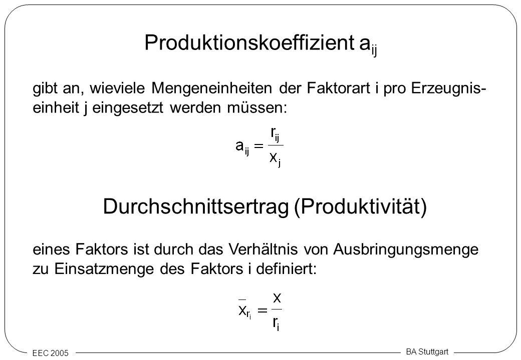 EEC 2005 BA Stuttgart Produktionskoeffizient a ij gibt an, wieviele Mengeneinheiten der Faktorart i pro Erzeugnis- einheit j eingesetzt werden müssen: