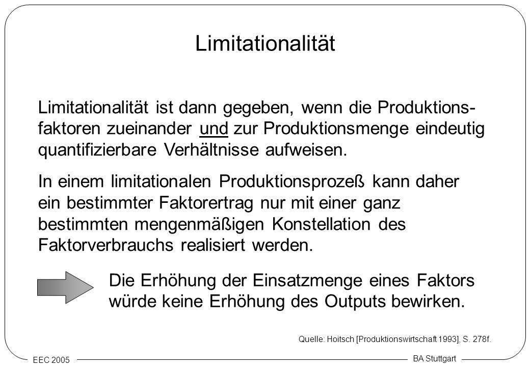 EEC 2005 BA Stuttgart Limitationalität Limitationalität ist dann gegeben, wenn die Produktions- faktoren zueinander und zur Produktionsmenge eindeutig