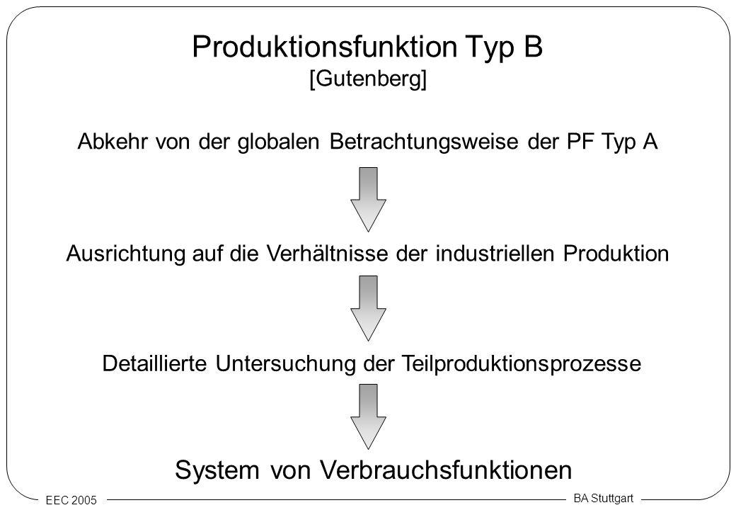 EEC 2005 BA Stuttgart Produktionsfunktion Typ B [Gutenberg] Abkehr von der globalen Betrachtungsweise der PF Typ A Ausrichtung auf die Verhältnisse de