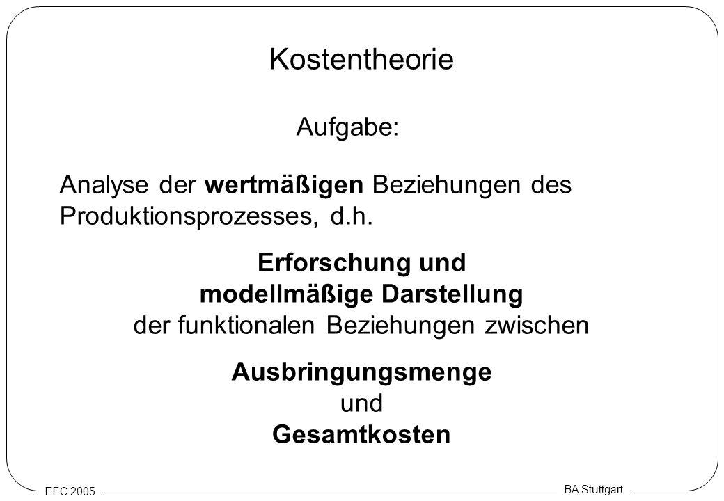 EEC 2005 BA Stuttgart Kostentheorie Aufgabe: Analyse der wertmäßigen Beziehungen des Produktionsprozesses, d.h. Erforschung und modellmäßige Darstellu