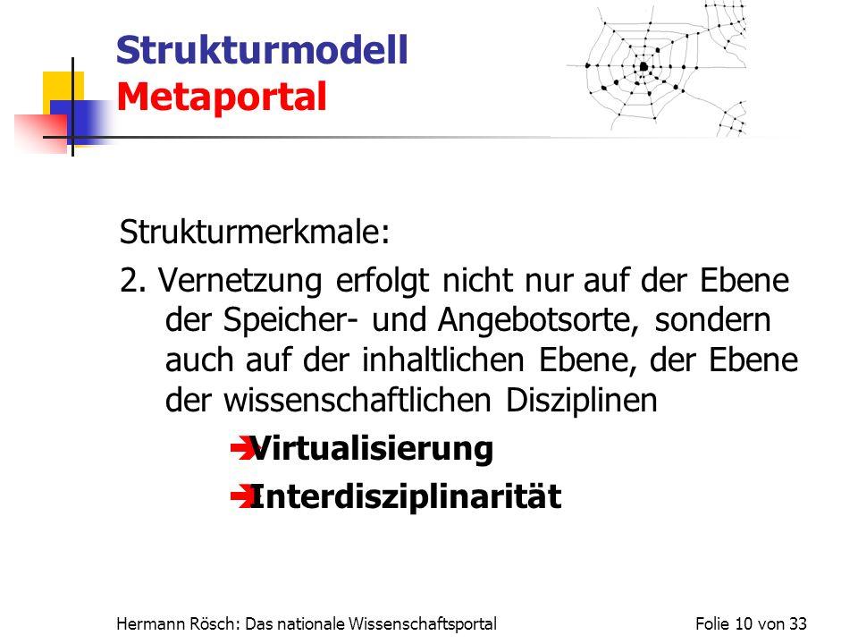 Hermann Rösch: Das nationale WissenschaftsportalFolie 10 von 33 Strukturmodell Metaportal Strukturmerkmale: 2. Vernetzung erfolgt nicht nur auf der Eb