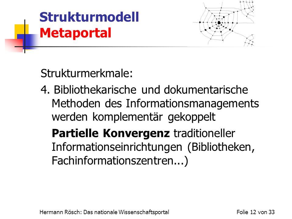 Hermann Rösch: Das nationale WissenschaftsportalFolie 12 von 33 Strukturmodell Metaportal Strukturmerkmale: 4. Bibliothekarische und dokumentarische M