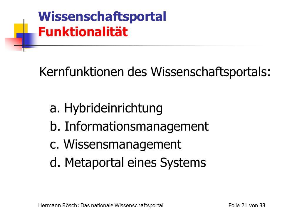 Hermann Rösch: Das nationale WissenschaftsportalFolie 21 von 33 Wissenschaftsportal Funktionalität Kernfunktionen des Wissenschaftsportals: a. Hybride