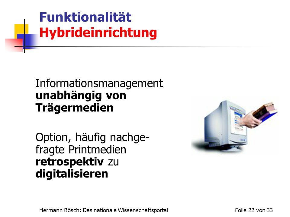 Hermann Rösch: Das nationale WissenschaftsportalFolie 22 von 33 Funktionalität Hybrideinrichtung Informationsmanagement unabhängig von Trägermedien Op