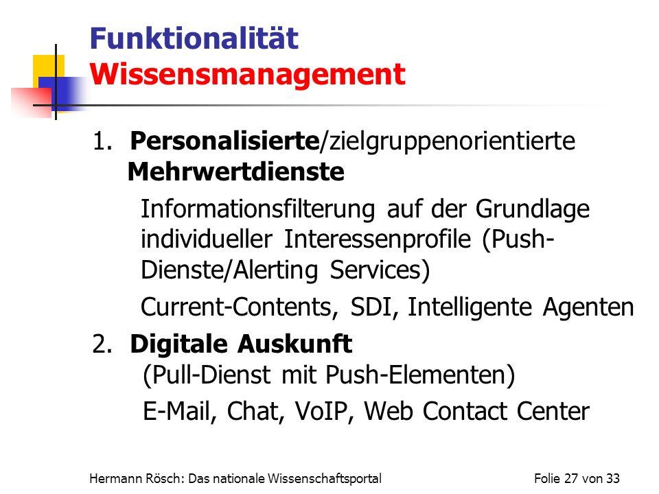 Hermann Rösch: Das nationale WissenschaftsportalFolie 27 von 33 Funktionalität Wissensmanagement 1. Personalisierte/zielgruppenorientierte Mehrwertdie