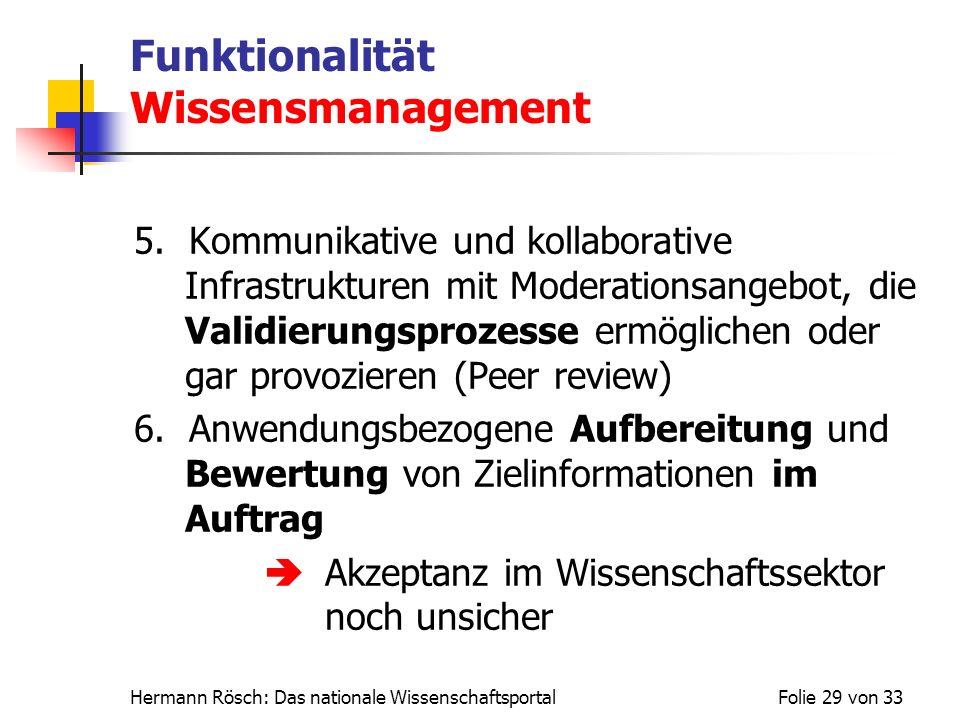 Hermann Rösch: Das nationale WissenschaftsportalFolie 29 von 33 Funktionalität Wissensmanagement 5. Kommunikative und kollaborative Infrastrukturen mi