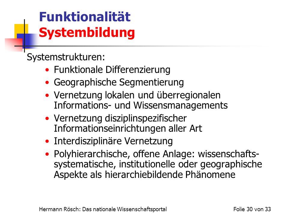 Hermann Rösch: Das nationale WissenschaftsportalFolie 30 von 33 Funktionalität Systembildung Systemstrukturen: Funktionale Differenzierung Geographisc