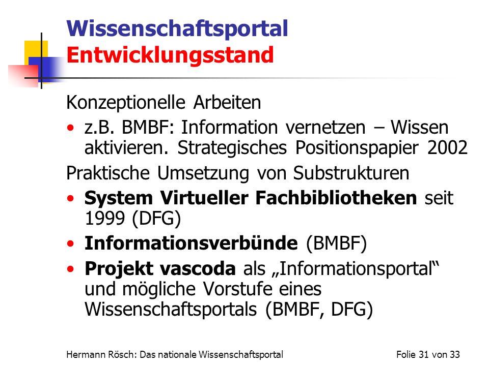 Hermann Rösch: Das nationale WissenschaftsportalFolie 31 von 33 Wissenschaftsportal Entwicklungsstand Konzeptionelle Arbeiten z.B. BMBF: Information v