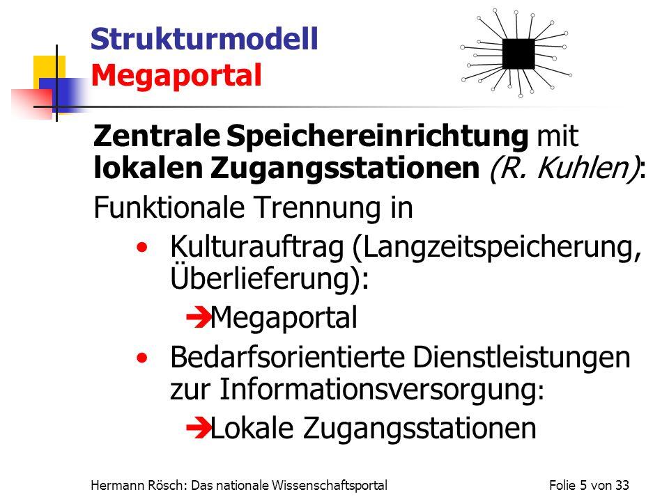 Hermann Rösch: Das nationale WissenschaftsportalFolie 5 von 33 Strukturmodell Megaportal Zentrale Speichereinrichtung mit lokalen Zugangsstationen (R.