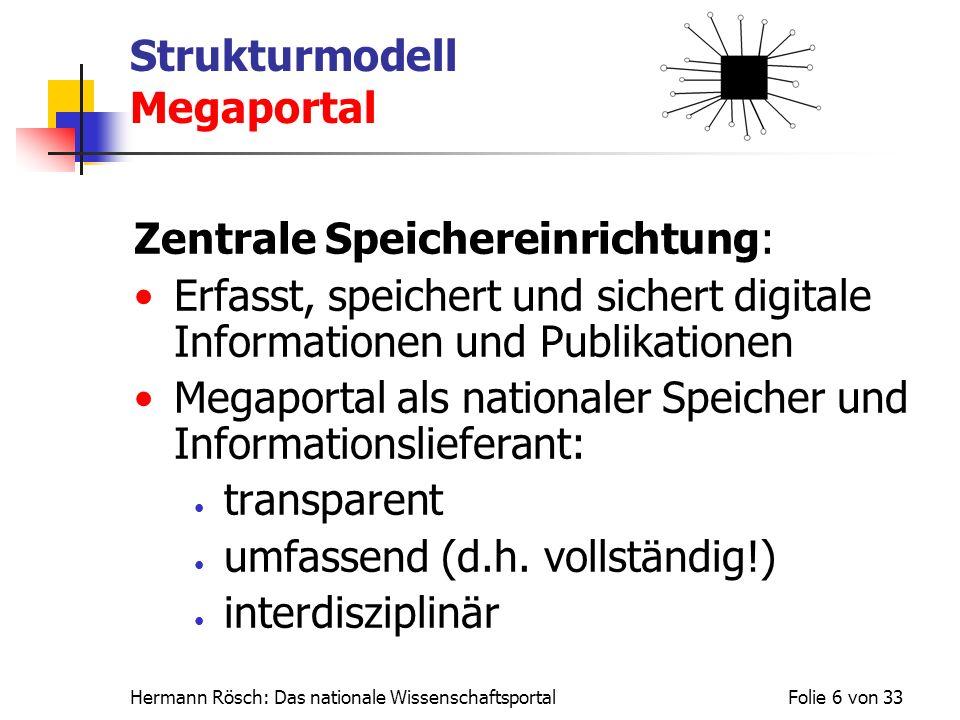 Hermann Rösch: Das nationale WissenschaftsportalFolie 6 von 33 Strukturmodell Megaportal Zentrale Speichereinrichtung: Erfasst, speichert und sichert