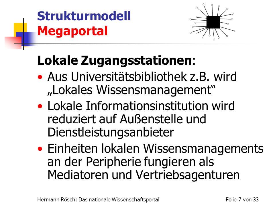 Hermann Rösch: Das nationale WissenschaftsportalFolie 7 von 33 Strukturmodell Megaportal Lokale Zugangsstationen: Aus Universitätsbibliothek z.B. wird