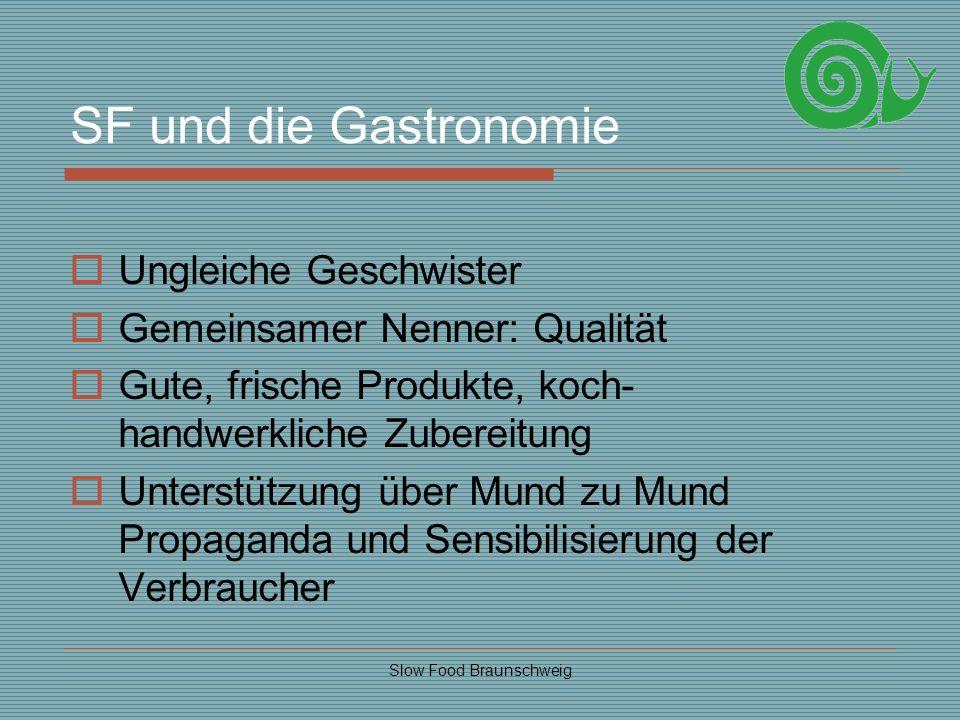 Slow Food Braunschweig SF und die Gastronomie Ungleiche Geschwister Gemeinsamer Nenner: Qualität Gute, frische Produkte, koch- handwerkliche Zubereitu