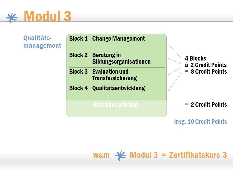 Modul 3 w & m Modul 3 = Zertifikatskurs 3 Qualitäts- management 4 Blocks à 2 Credit Points = 8 Credit Points = 2 Credit Points Block 2Beratung in Bild