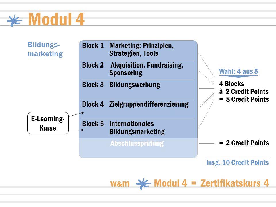 Modul 4 w & m Modul 4 = Zertifikatskurs 4 Bildungs- marketing Wahl: 4 aus 5 = 2 Credit Points Block 2 Akquisition, Fundraising, Sponsoring Block 1Mark