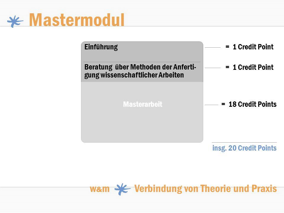Mastermodul w & m Verbindung von Theorie und Praxis = 18 Credit Points Beratung über Methoden der Anferti- gung wissenschaftlicher Arbeiten Einführung