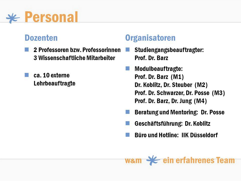 Personal Dozenten ca. 10 externe Lehrbeauftragte Beratung und Mentoring: Dr. Posse Organisatoren 2 Professoren bzw. Professorinnen 3 Wissenschaftliche