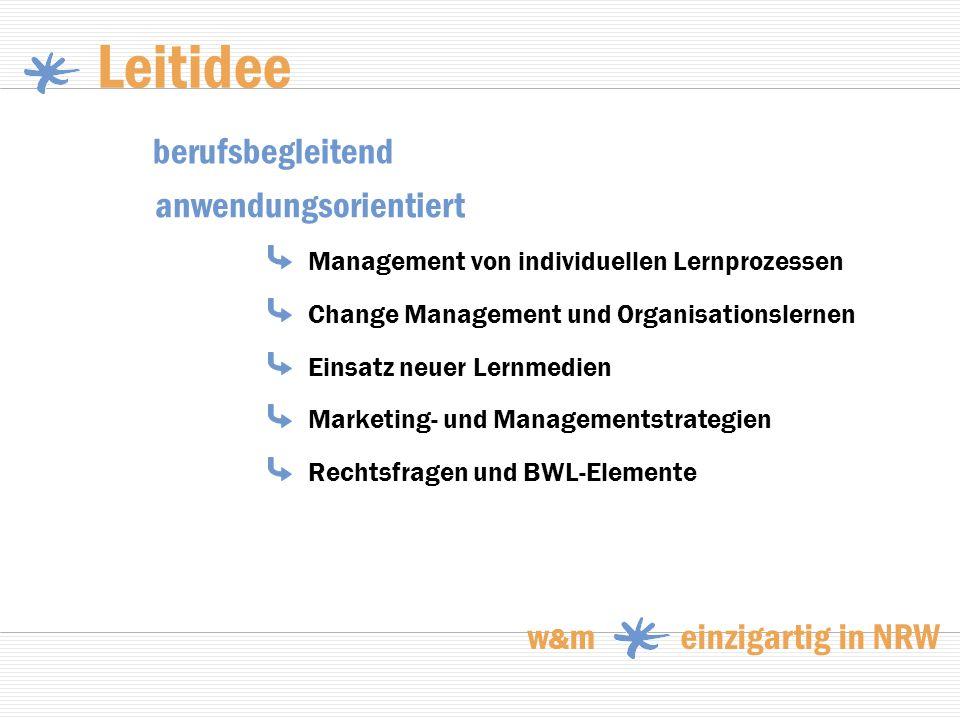 Leitidee Management von individuellen Lernprozessen Change Management und Organisationslernen Einsatz neuer Lernmedien Marketing- und Managementstrate