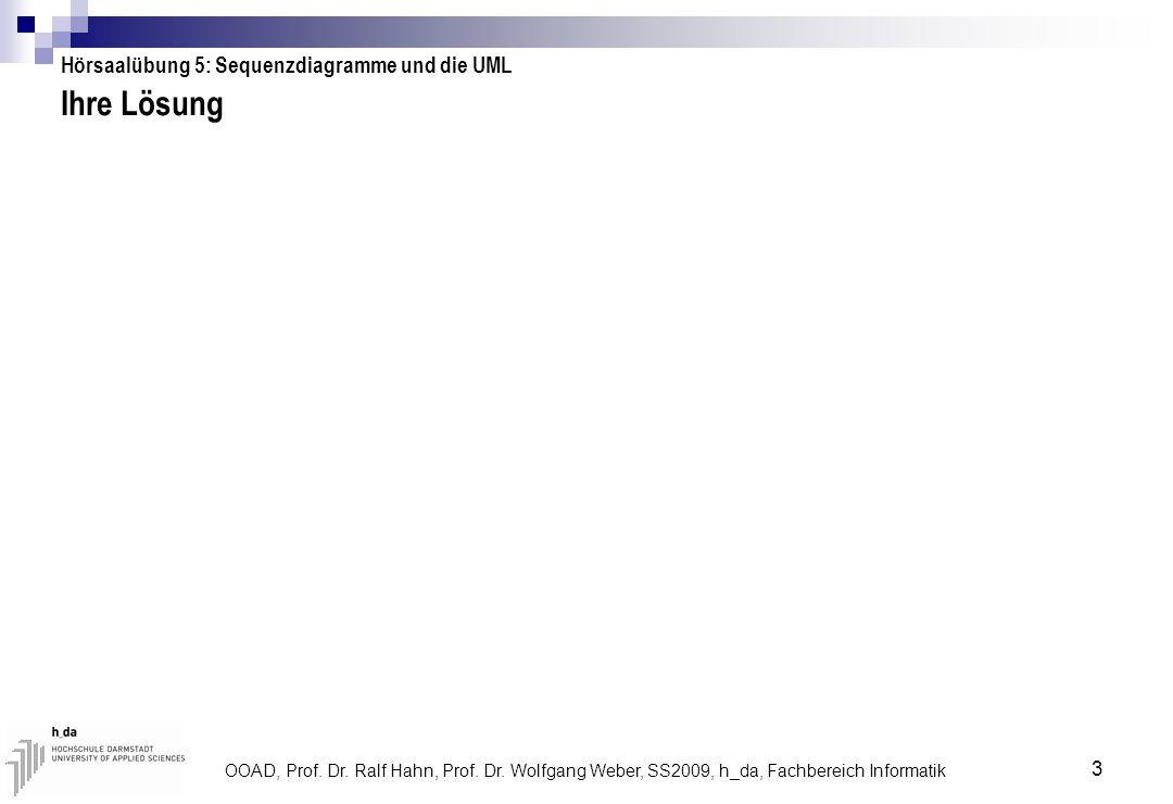 OOAD, Prof. Dr. Ralf Hahn, Prof. Dr. Wolfgang Weber, SS2009, h_da, Fachbereich Informatik 3 Ihre Lösung Hörsaalübung 5: Sequenzdiagramme und die UML