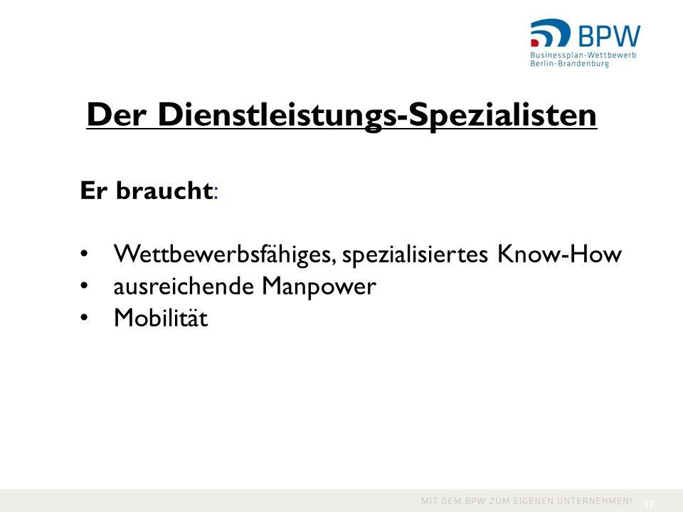 17 Der Dienstleistungs-Spezialisten Er braucht: Wettbewerbsfähiges, spezialisiertes Know-How ausreichende Manpower Mobilität